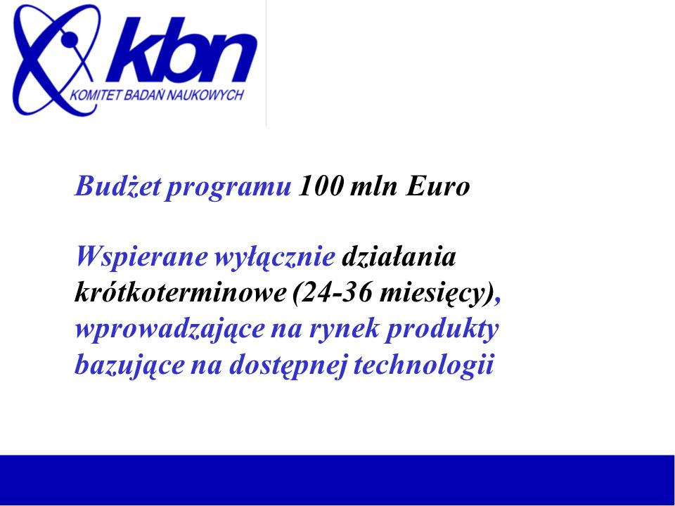 Budżet programu 100 mln Euro