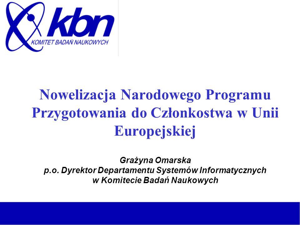 Nowelizacja Narodowego Programu Przygotowania do Członkostwa w Unii Europejskiej Grażyna Omarska p.o.