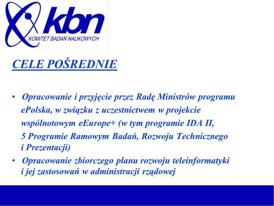 CELE POŚREDNIE Opracowanie i przyjęcie przez Radę Ministrów programu