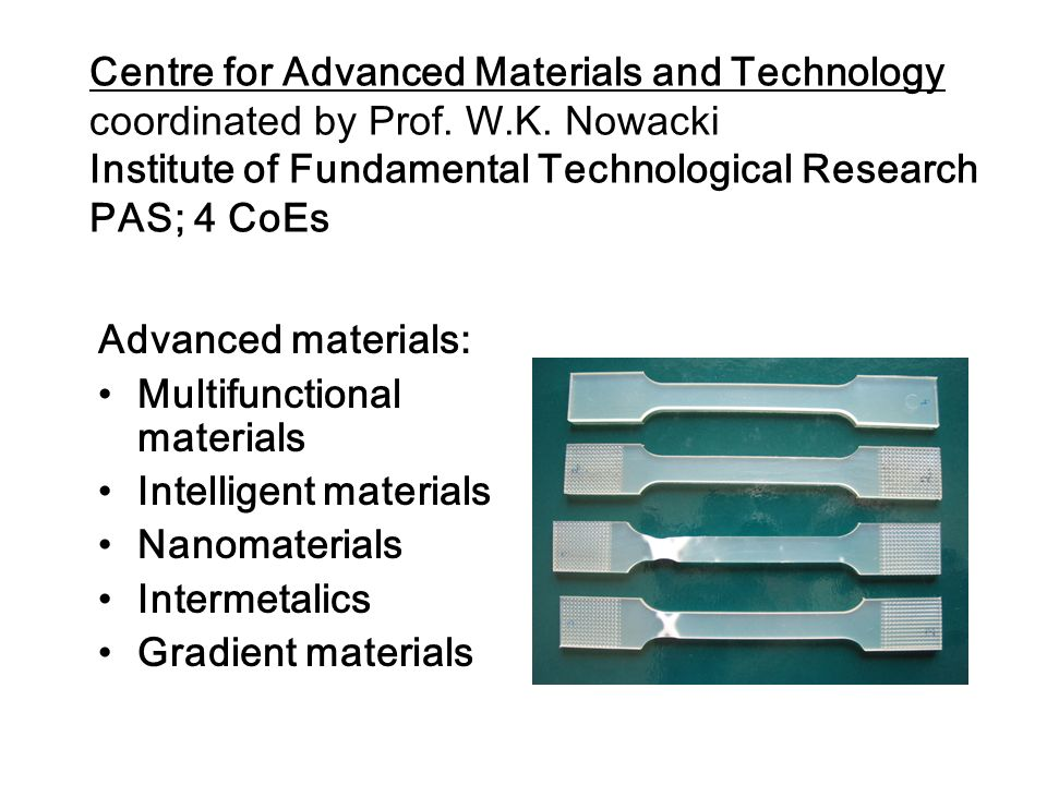 Centre for Advanced Materials and Technology coordinated by Prof. W. K