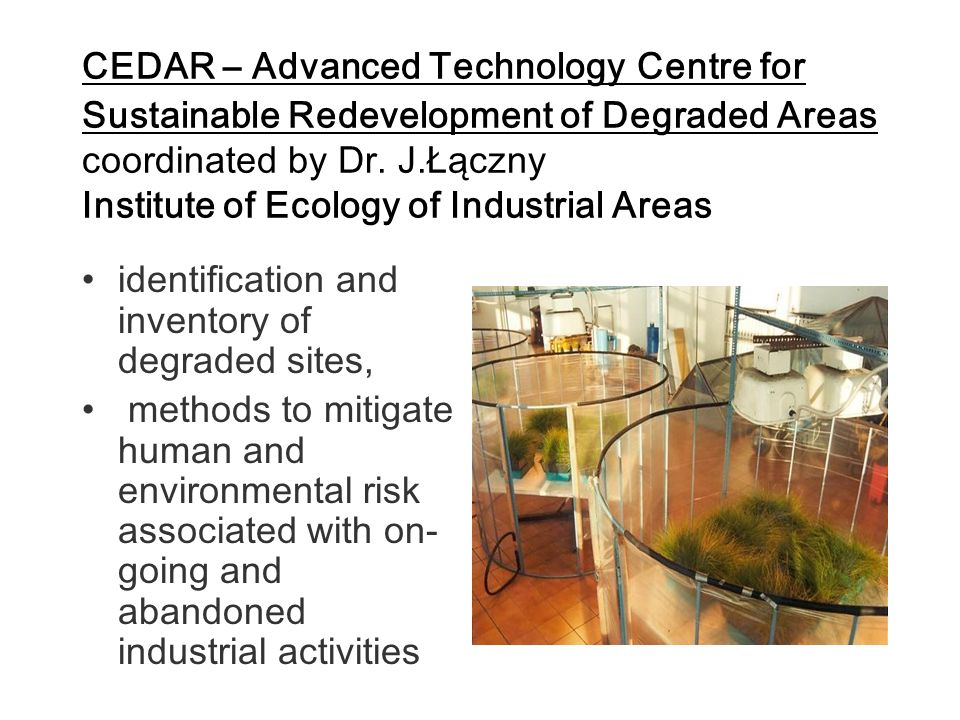 CEDAR – Advanced Technology Centre for Sustainable Redevelopment of Degraded Areas coordinated by Dr. J.Łączny Institute of Ecology of Industrial Areas