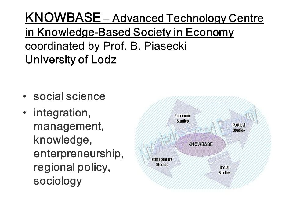 KNOWBASE – Advanced Technology Centre in Knowledge-Based Society in Economy coordinated by Prof. B. Piasecki University of Lodz