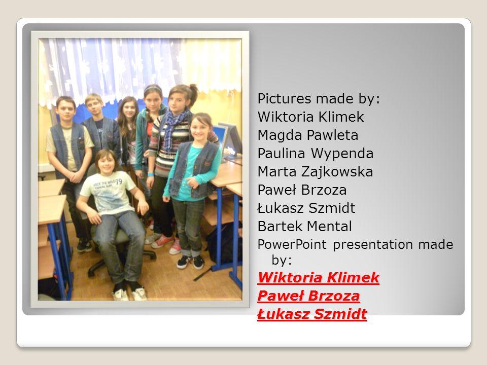 Pictures made by: Wiktoria Klimek Magda Pawleta Paulina Wypenda
