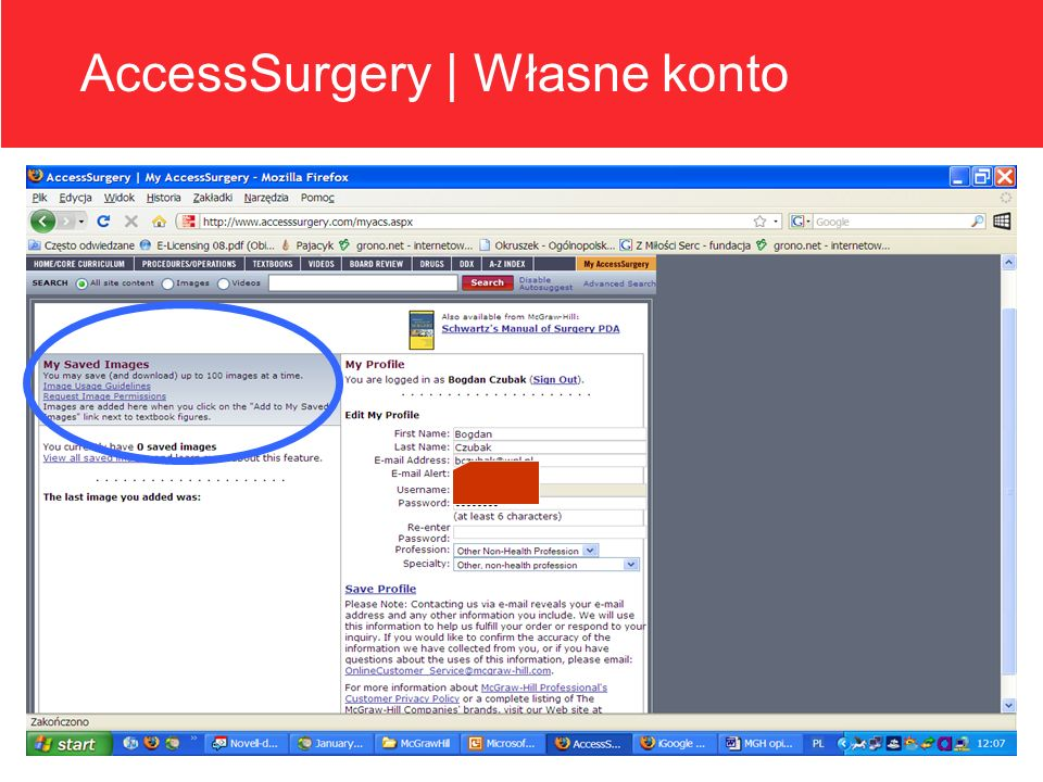AccessSurgery | Własne konto