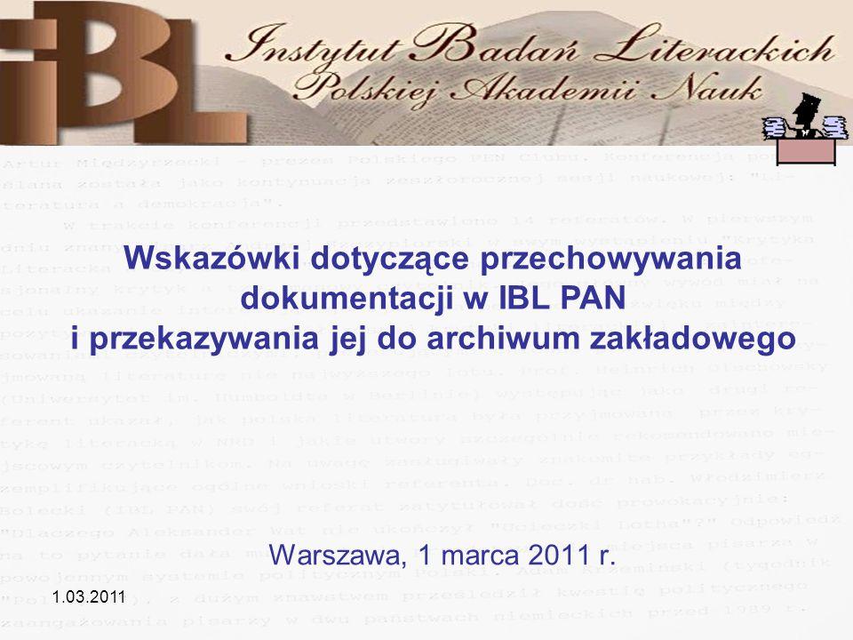 Wskazówki dotyczące przechowywania dokumentacji w IBL PAN