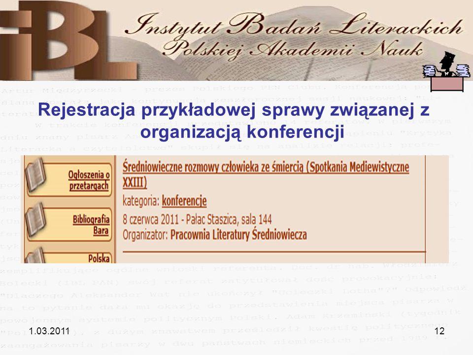 Rejestracja przykładowej sprawy związanej z organizacją konferencji