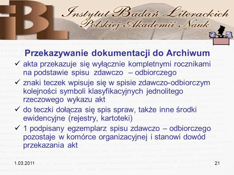 Przekazywanie dokumentacji do Archiwum