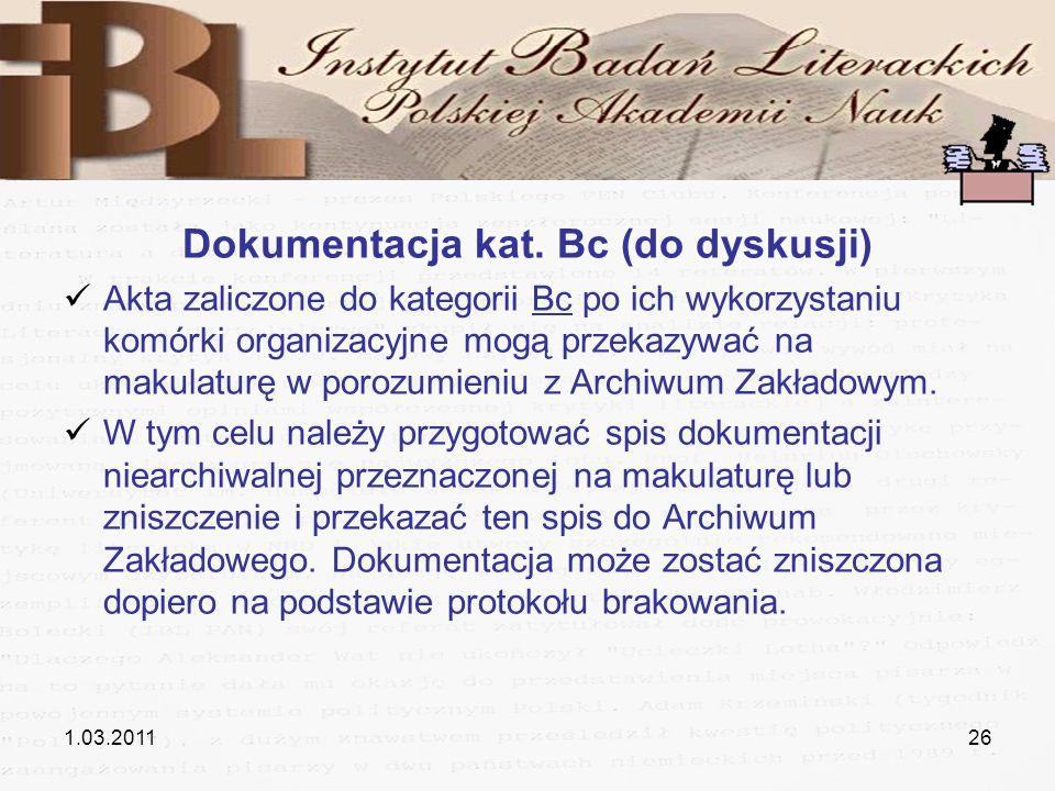 Dokumentacja kat. Bc (do dyskusji)