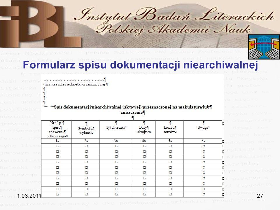 Formularz spisu dokumentacji niearchiwalnej
