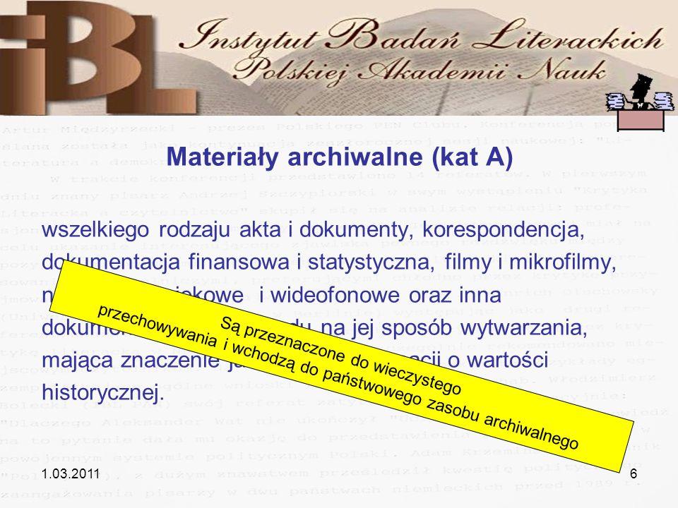 Materiały archiwalne (kat A)