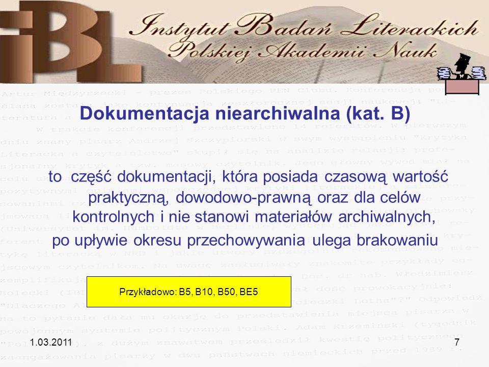 Dokumentacja niearchiwalna (kat. B)