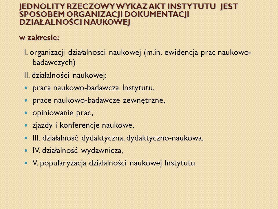 II. działalności naukowej: praca naukowo-badawcza Instytutu,
