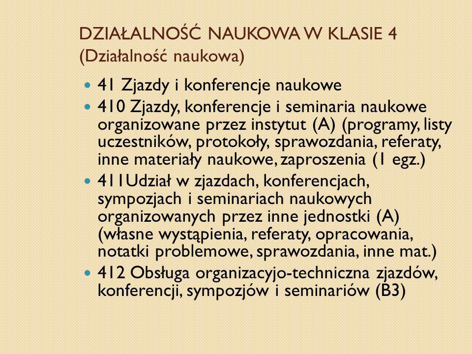 DZIAŁALNOŚĆ NAUKOWA W KLASIE 4 (Działalność naukowa)