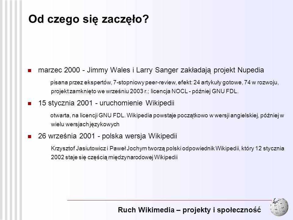 Od czego się zaczęło marzec 2000 - Jimmy Wales i Larry Sanger zakładają projekt Nupedia.