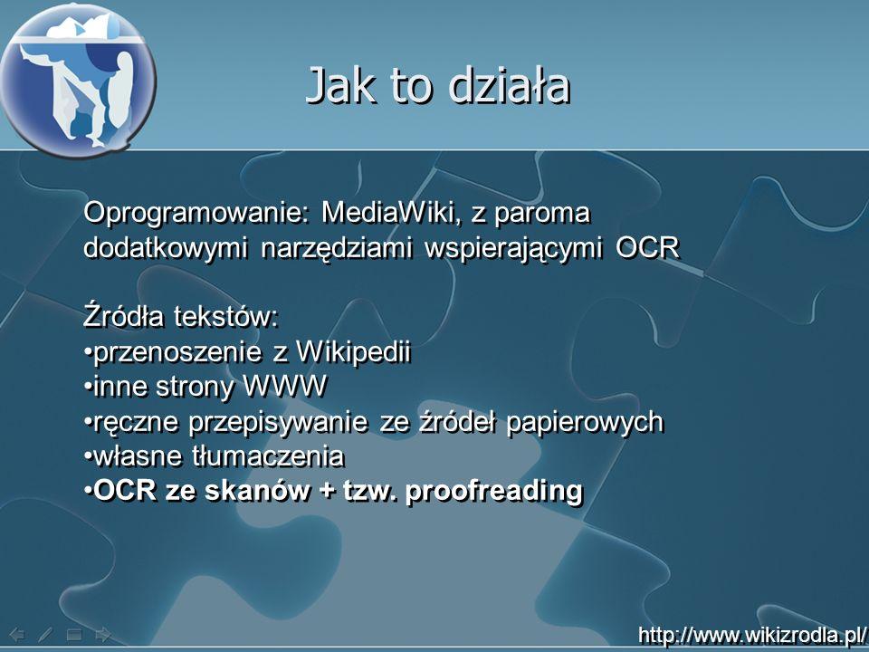Jak to działa Oprogramowanie: MediaWiki, z paroma dodatkowymi narzędziami wspierającymi OCR. Źródła tekstów: