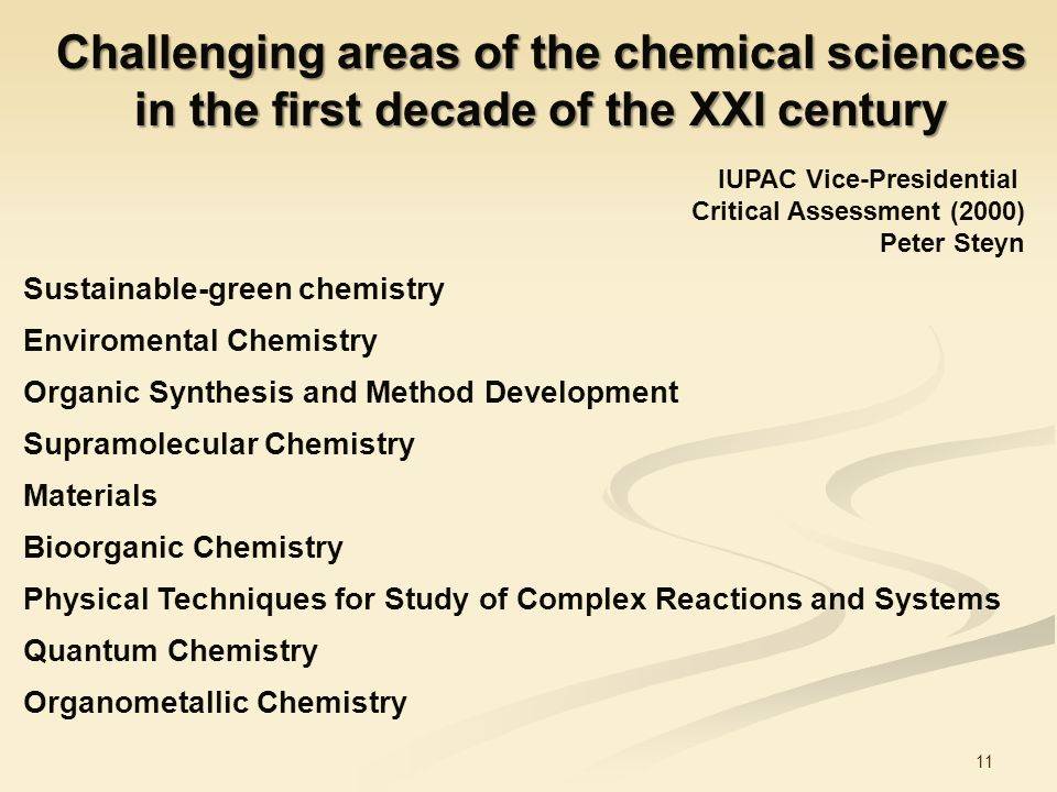 Challenging areas of the chemical sciences in the first decade of the XXI century