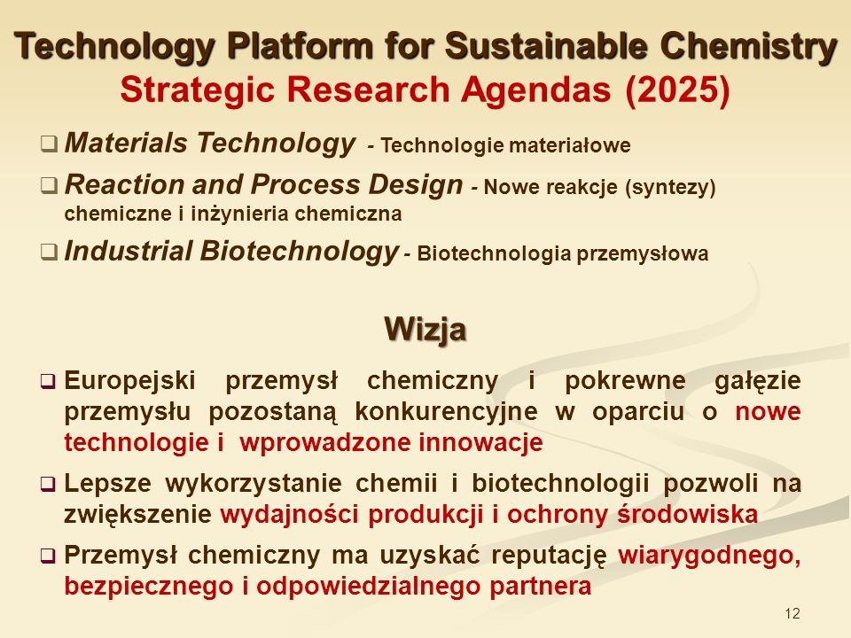 Technology Platform for Sustainable Chemistry Strategic Research Agendas (2025)