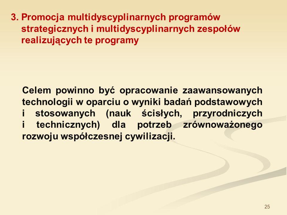 3. Promocja multidyscyplinarnych programów strategicznych i multidyscyplinarnych zespołów realizujących te programy