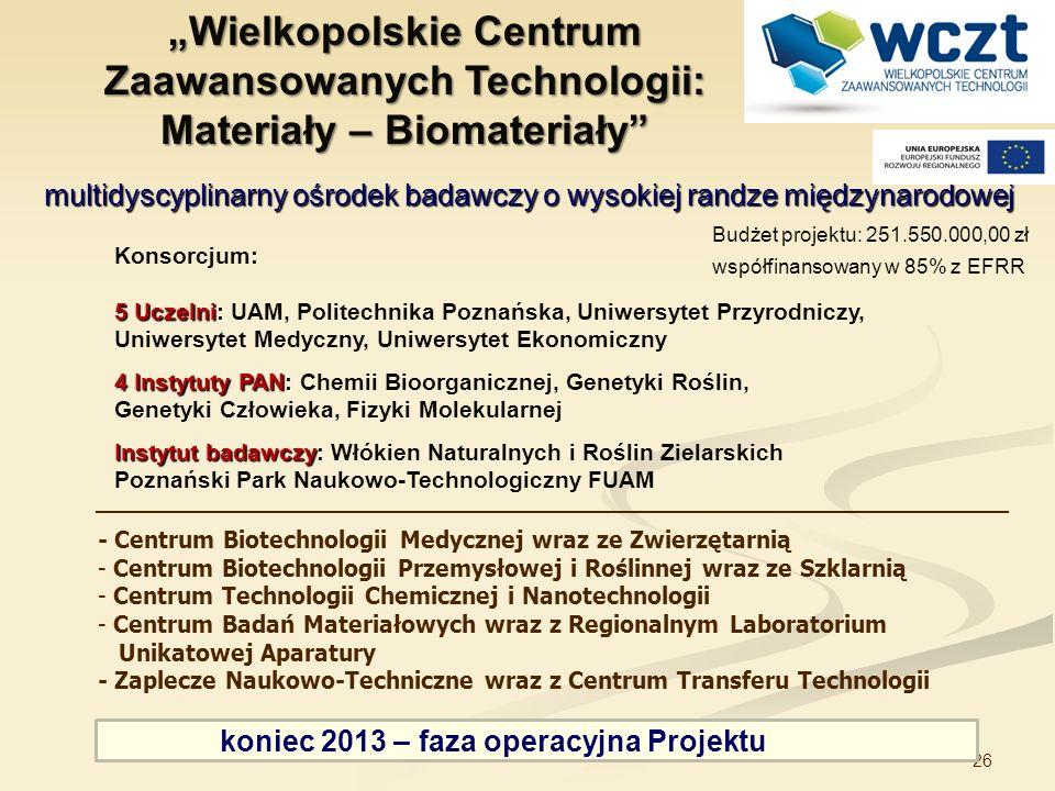 """""""Wielkopolskie Centrum Zaawansowanych Technologii: Materiały – Biomateriały"""