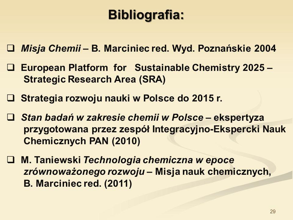 Bibliografia: Misja Chemii – B. Marciniec red. Wyd. Poznańskie 2004