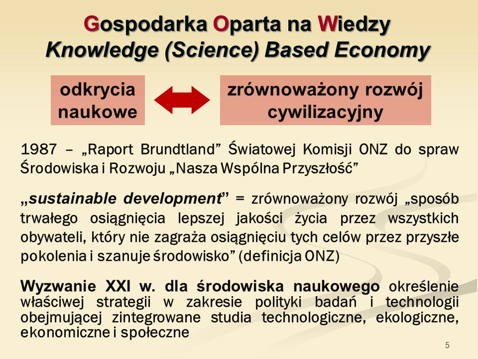 Gospodarka Oparta na Wiedzy Knowledge (Science) Based Economy