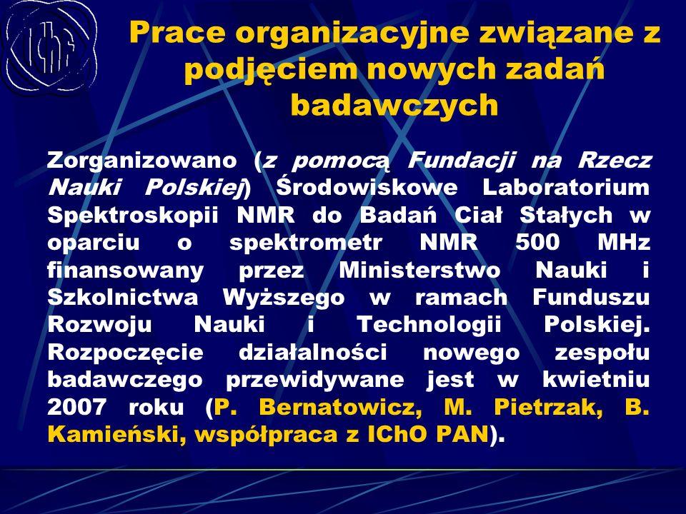 Prace organizacyjne związane z podjęciem nowych zadań badawczych