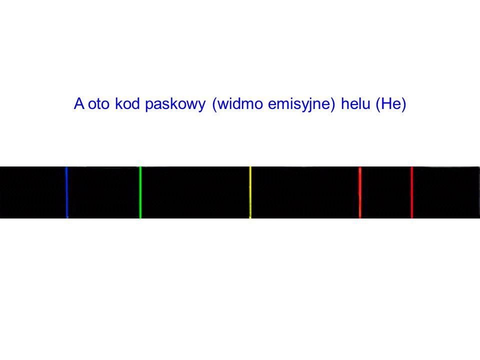 A oto kod paskowy (widmo emisyjne) helu (He)