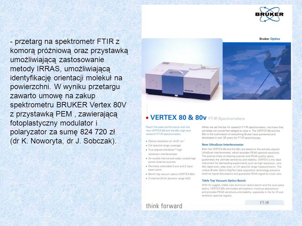 - przetarg na spektrometr FTIR z komorą próżniową oraz przystawką umożliwiającą zastosowanie metody IRRAS, umożliwiającą identyfikację orientacji molekuł na powierzchni.