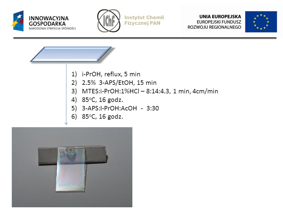 MTES:i-PrOH:1%HCl – 8:14:4.3, 1 min, 4cm/min 85oC, 16 godz.