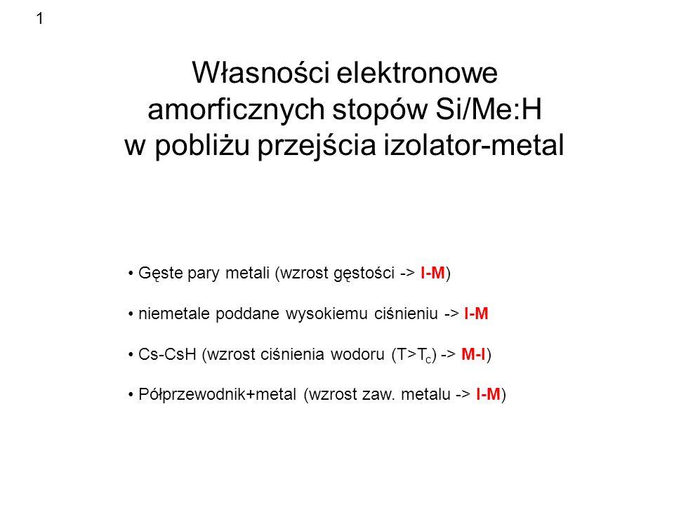 1 Własności elektronowe amorficznych stopów Si/Me:H w pobliżu przejścia izolator-metal. Gęste pary metali (wzrost gęstości -> I-M)