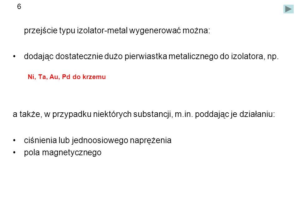 przejście typu izolator-metal wygenerować można: