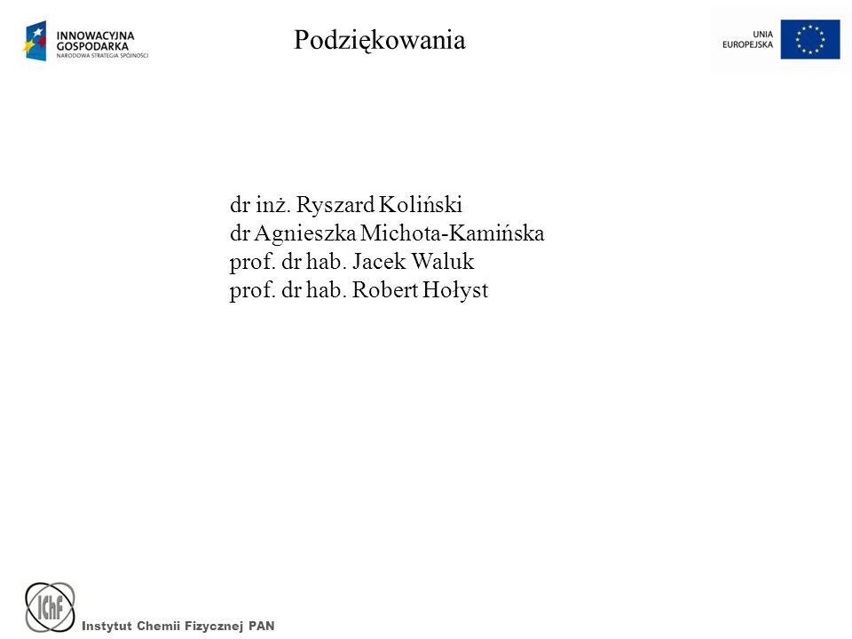 Podziękowania dr inż. Ryszard Koliński dr Agnieszka Michota-Kamińska