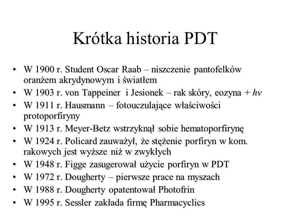Krótka historia PDT W 1900 r. Student Oscar Raab – niszczenie pantofelków oranżem akrydynowym i światłem.