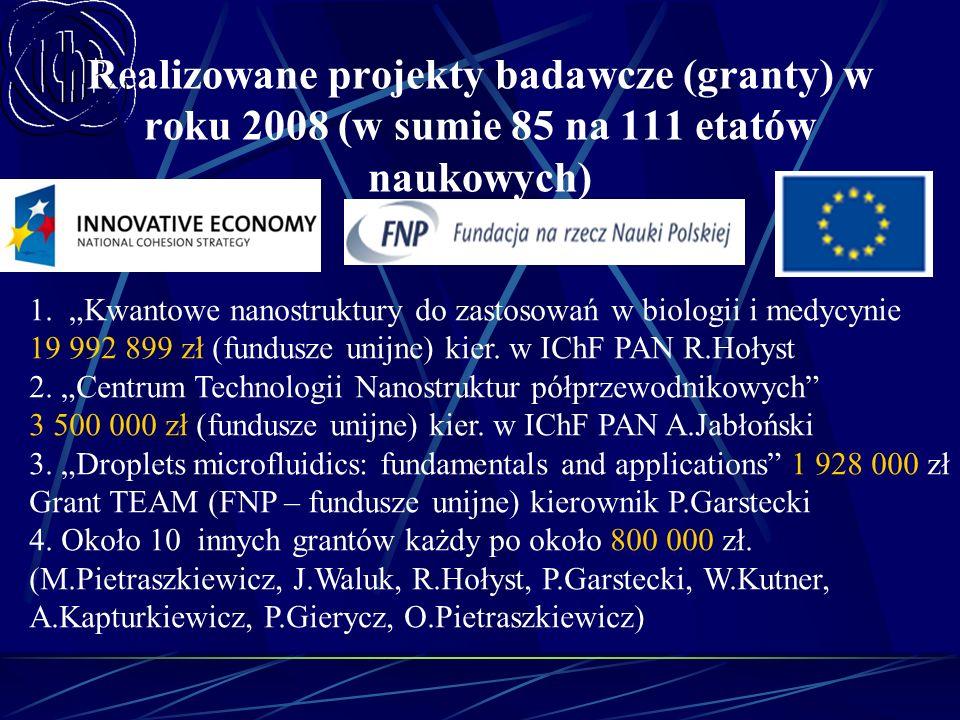 Realizowane projekty badawcze (granty) w roku 2008 (w sumie 85 na 111 etatów naukowych)