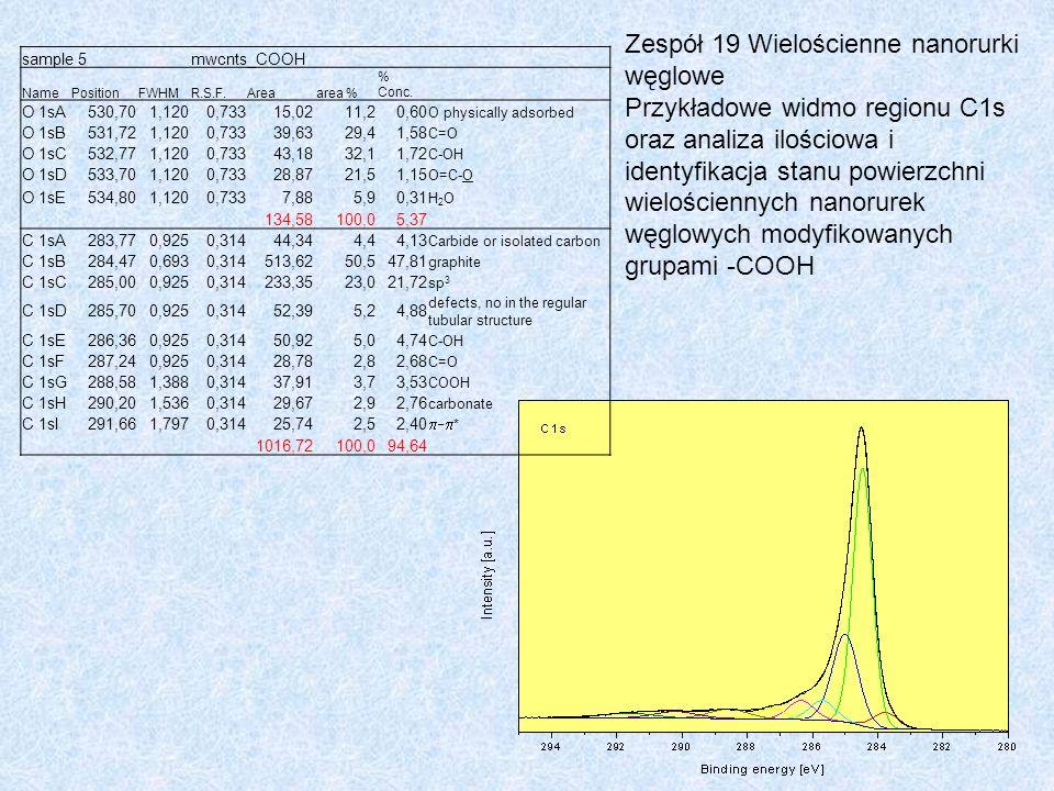 Zespół 19 Wielościenne nanorurki węglowe