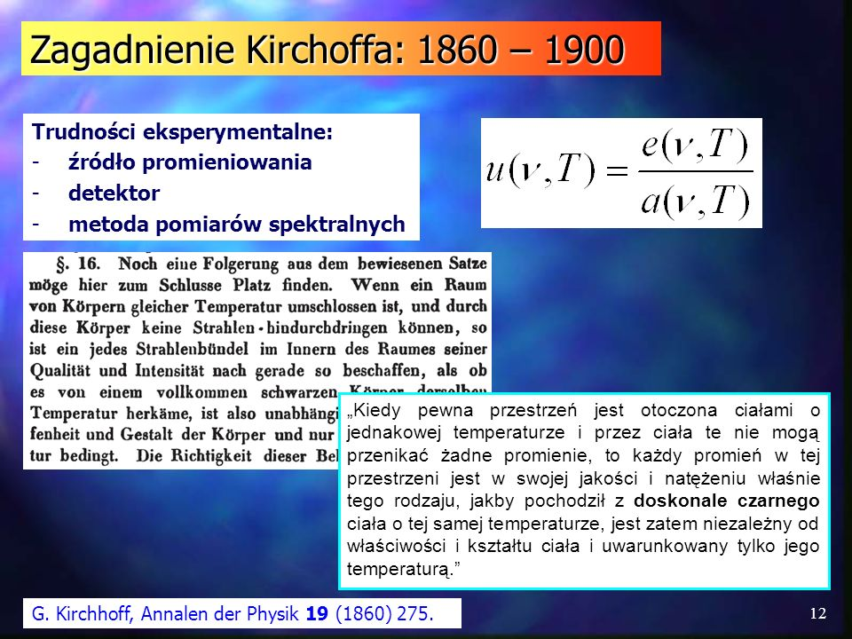 Zagadnienie Kirchoffa: 1860 – 1900