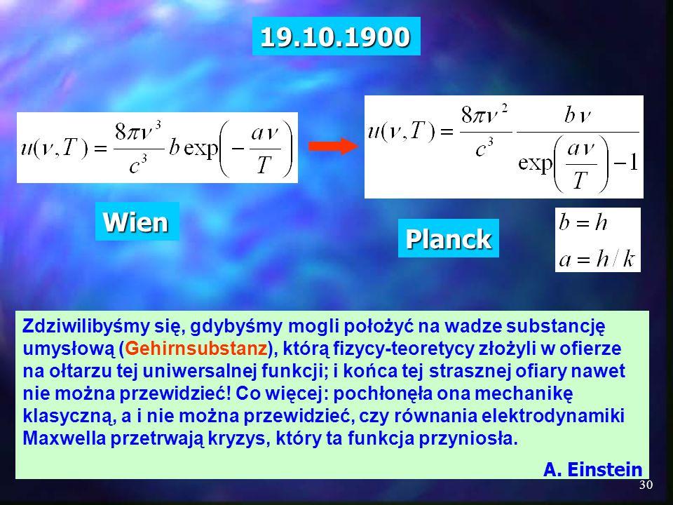 19.10.1900 Wien. Planck.