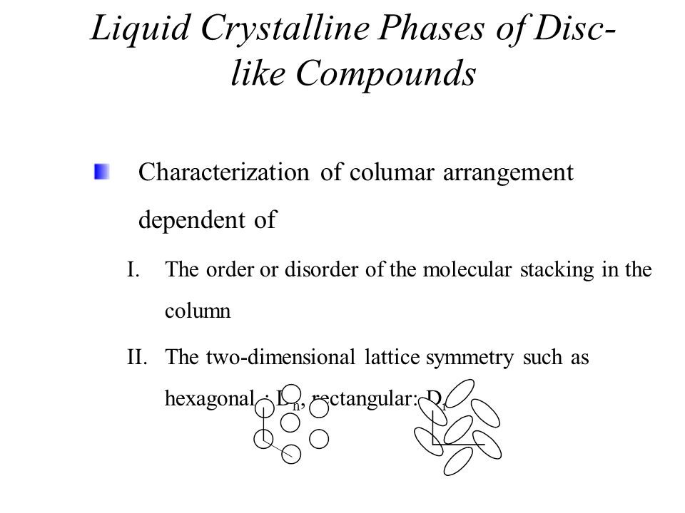Liquid Crystalline Phases of Disc-like Compounds