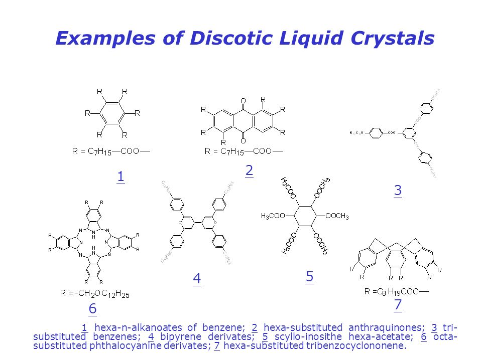 Examples of Discotic Liquid Crystals