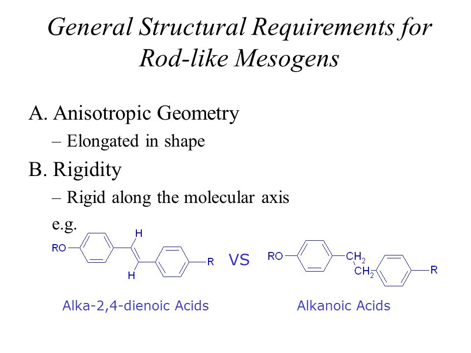 General Structural Requirements for Rod-like Mesogens