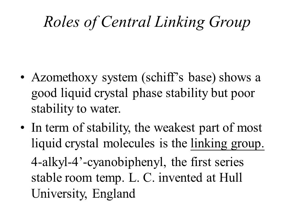 Roles of Central Linking Group