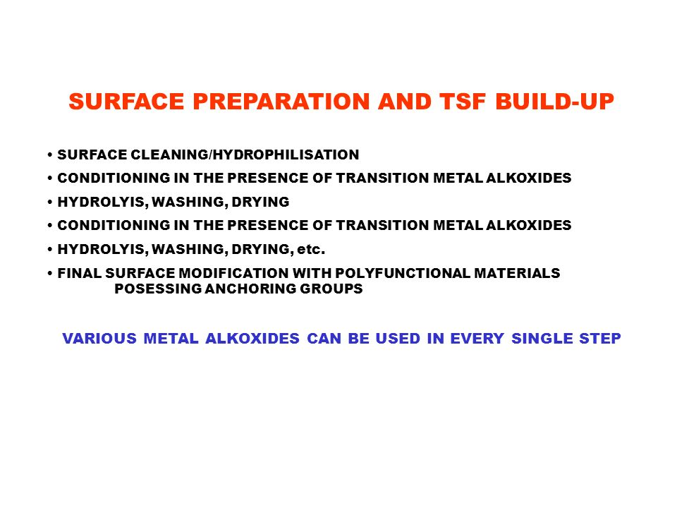 SURFACE PREPARATION AND TSF BUILD-UP