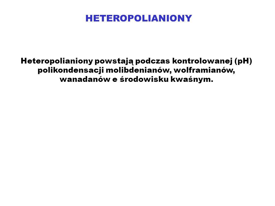 HETEROPOLIANIONY Heteropolianiony powstają podczas kontrolowanej (pH) polikondensacji molibdenianów, wolframianów, wanadanów e środowisku kwaśnym.