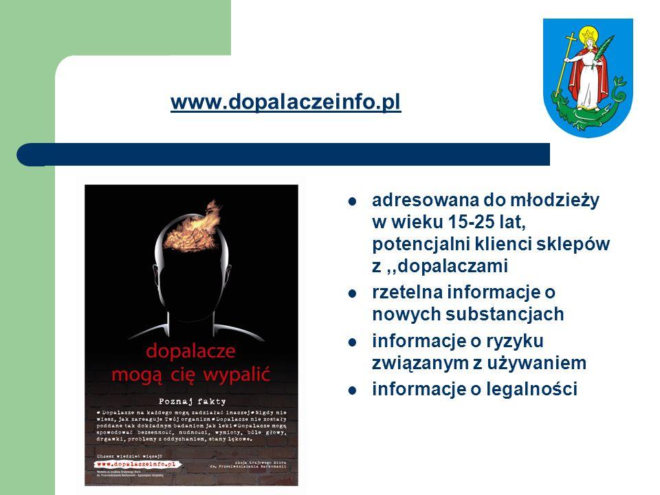 www.dopalaczeinfo.pl adresowana do młodzieży w wieku 15-25 lat, potencjalni klienci sklepów z ,,dopalaczami.