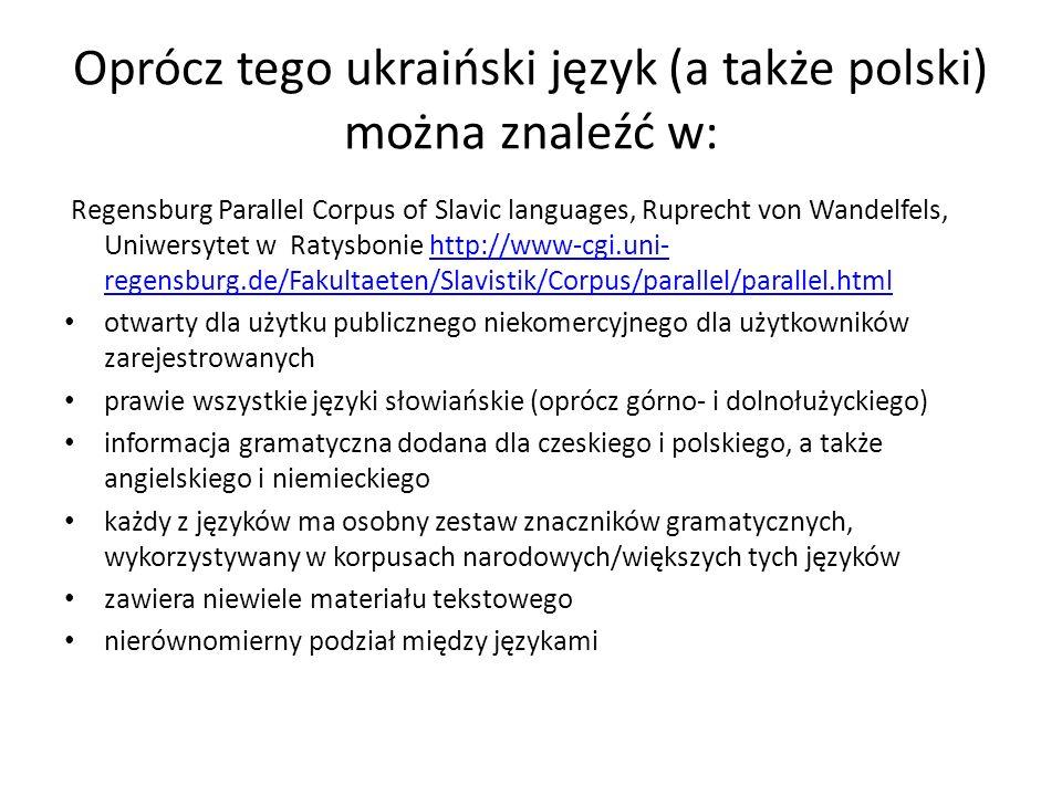 Oprócz tego ukraiński język (a także polski) można znaleźć w: