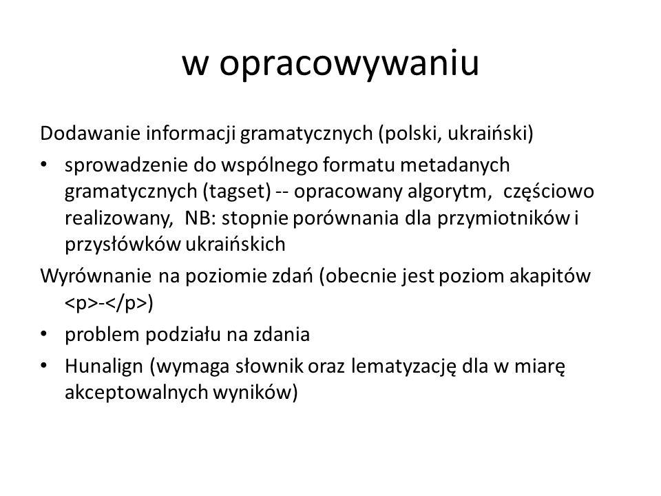 w opracowywaniu Dodawanie informacji gramatycznych (polski, ukraiński)