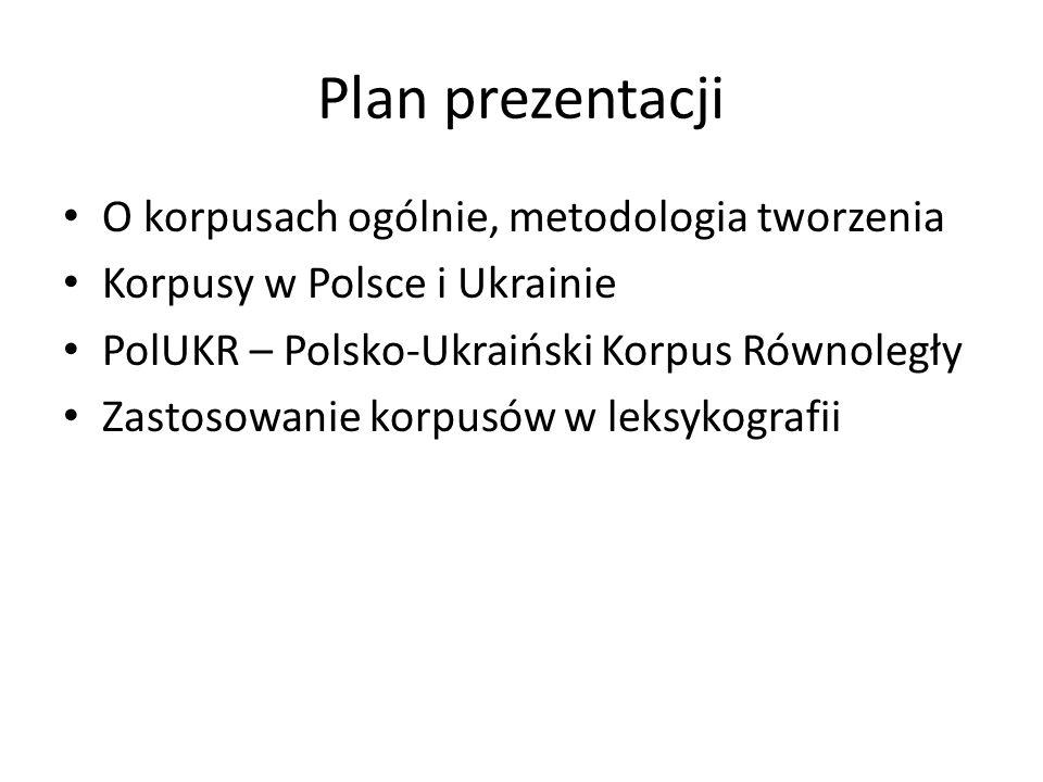 Plan prezentacji O korpusach ogólnie, metodologia tworzenia