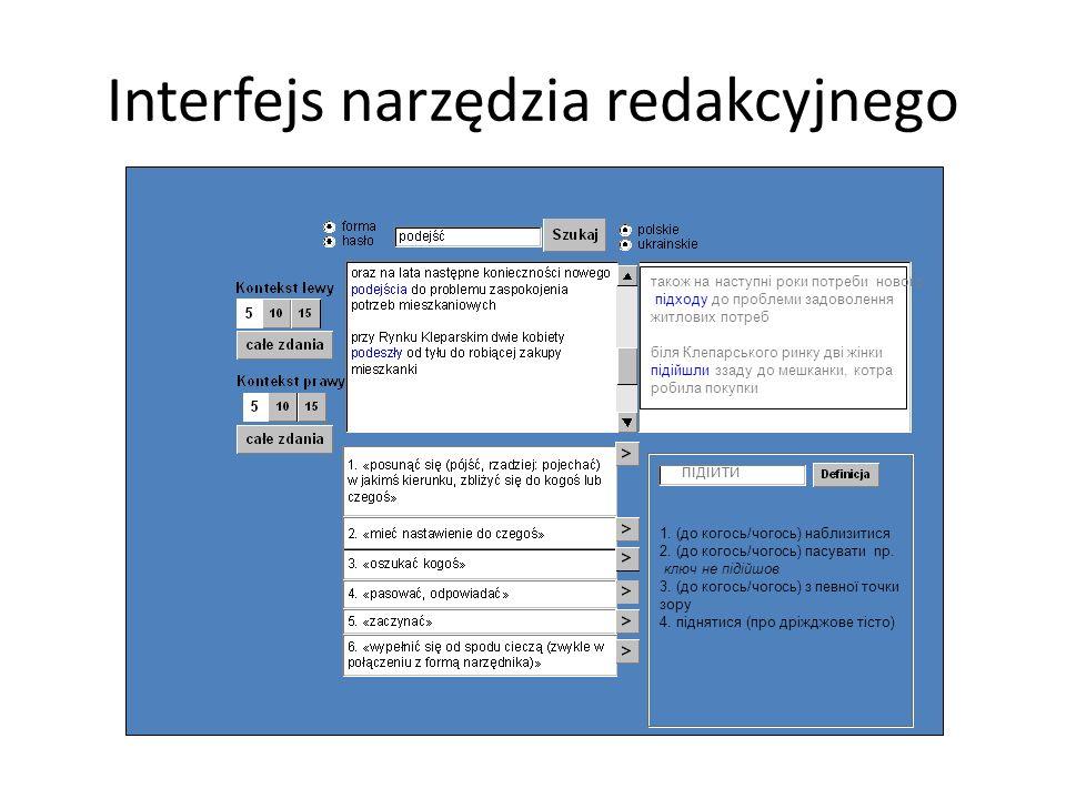 Interfejs narzędzia redakcyjnego