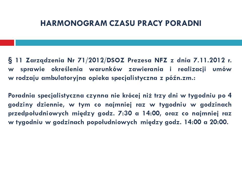 HARMONOGRAM CZASU PRACY PORADNI