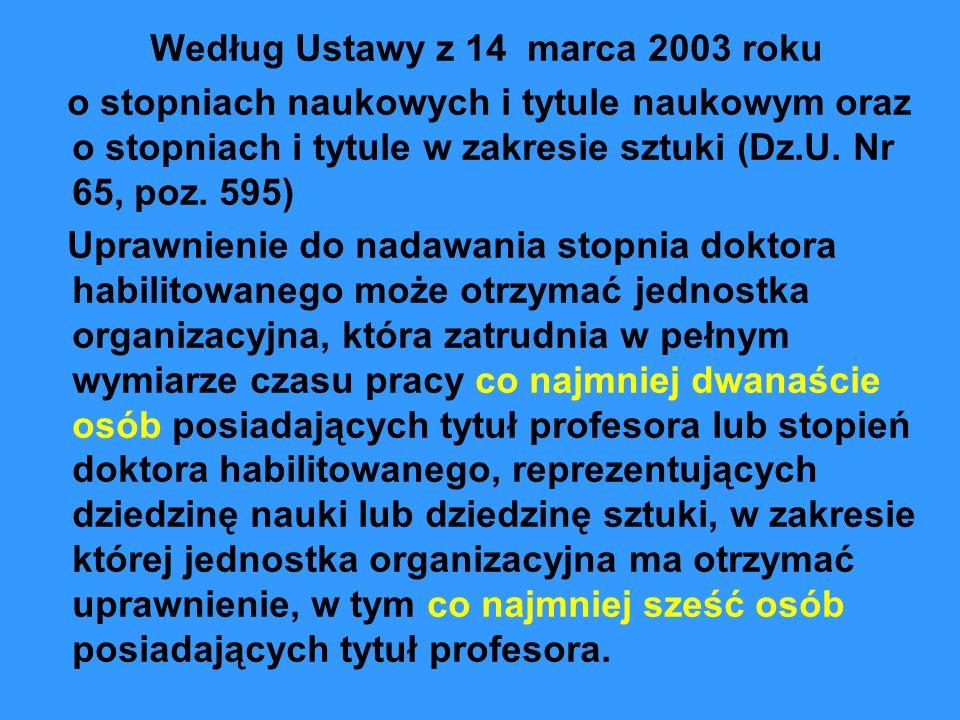 Według Ustawy z 14 marca 2003 roku